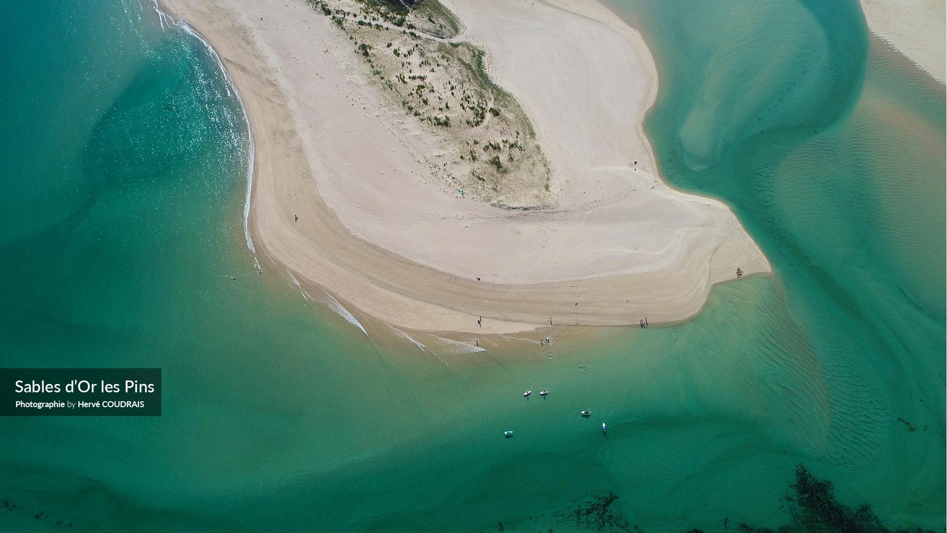 Sables d'Or Les Pins, la lagune, photographie Hervé Coudrais, Côtes d'Armor, Bretagne, drone, tourisme, vu du ciel,