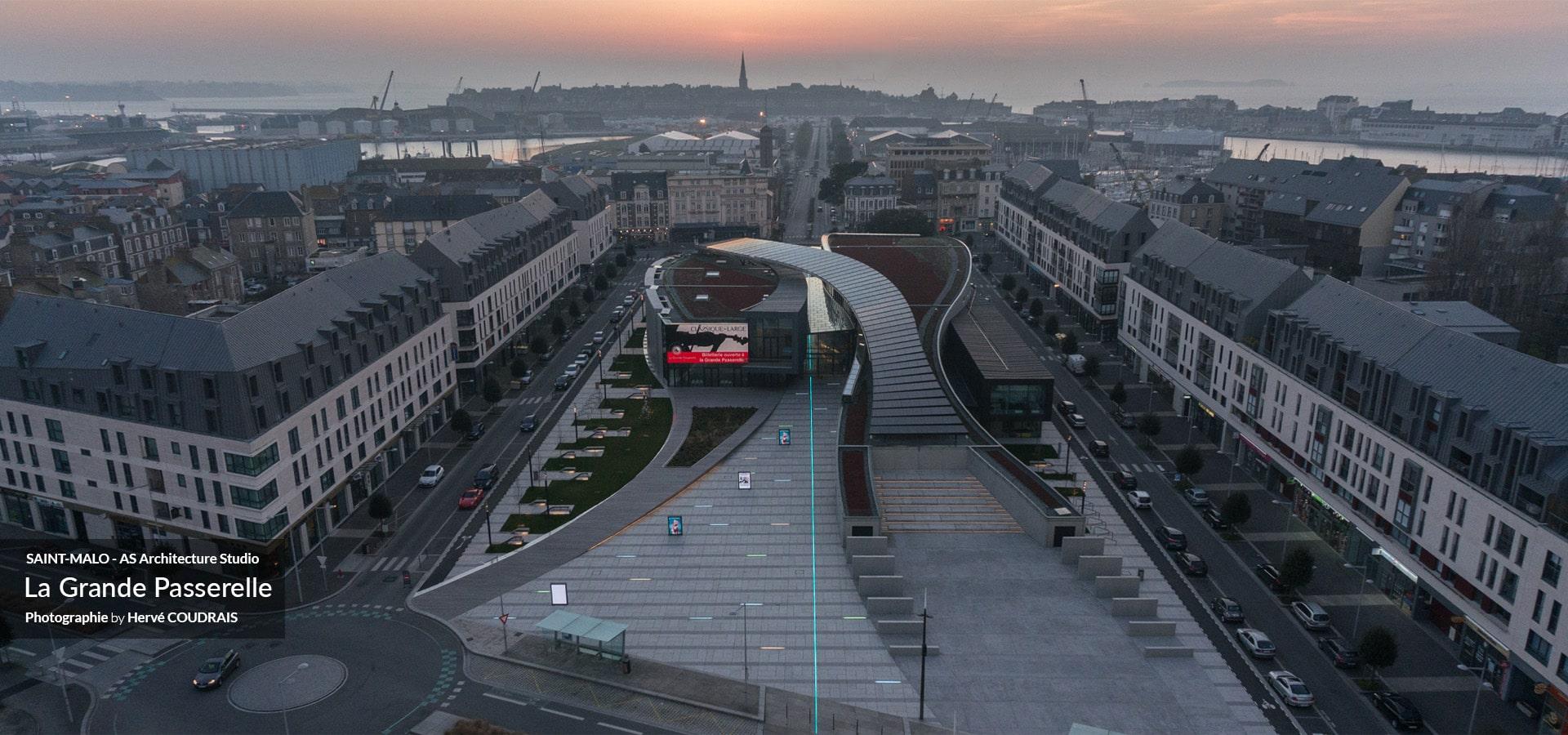 Photo Saint-Malo, Saint-Malo vu du ciel, la grande passerelle, AS Architecture Studio Paris, Architecte, photographie Hervé Coudrais, drone, vu du ciel,